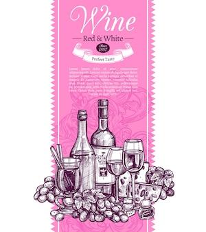 Modelo rosa com texto de amostra e conjunto de mão desenhada - garrafas, vinho quente, copo de vinho, uvas e queijo.