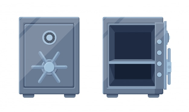 Modelo seguro moderno aberto e fechado. poderosa caixa de aço segura com sistema de proteção dupla secreta.