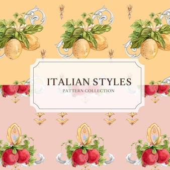 Modelo sem costura padrão com estilo italiano em estilo aquarela