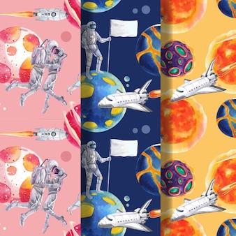 Modelo sem costura padrão com ilustração em aquarela de design de conceito de galáxia