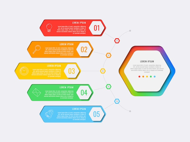 Modelo simples de infográfico de layout de design de cinco etapas com elementos hexagonais. diagrama de processo de negócios para banner, cartaz, folheto, relatório anual e apresentação com ícones de marketing. eps 10