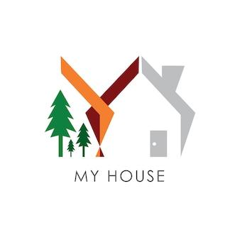 Modelo simples do projeto do logotipo do vetor da casa e das árvores. simbolizar um negócio de propriedade ou habitação.