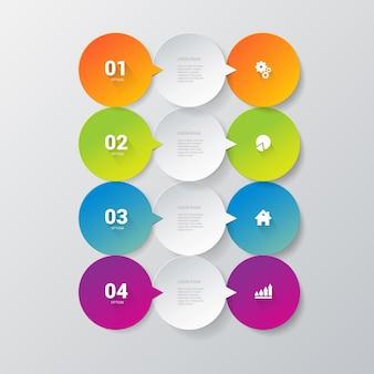 Modelo simples e elegante de 4 infográficos. Vetor grátis