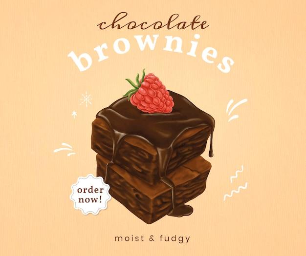 Modelo social de brownies desenhados à mão