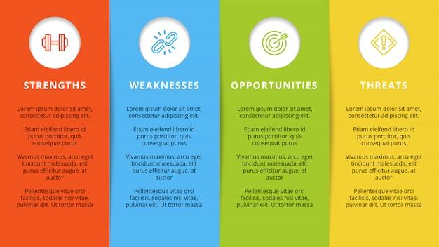 Modelo swot ou design de infográfico de planejamento estratégico