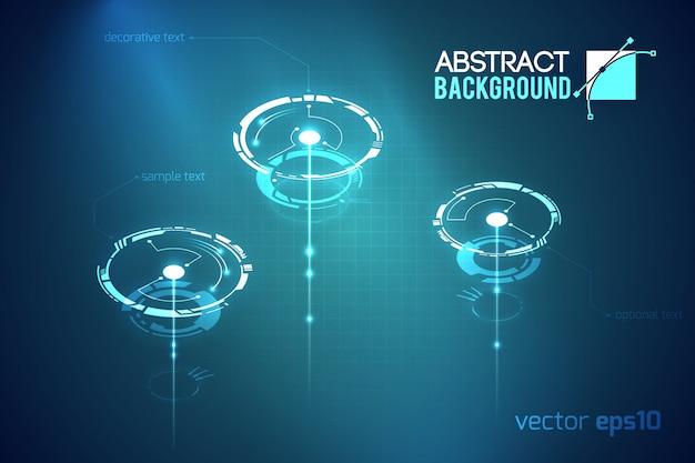 Modelo tecnológico abstrato científico com formas futuristas de círculos virtuais em ilustração escura