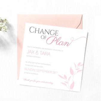 Modelo tipográfico para cartão de casamento adiado