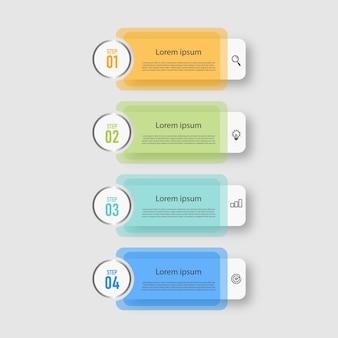 Modelo transparente de design de infográficos de cronograma de etapas