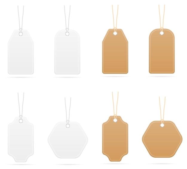 Modelo vazio de preços de tags para a venda de roupas e seu design isolado no branco