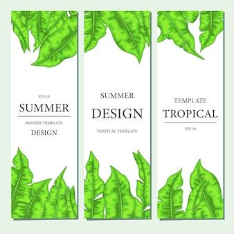 Modelo vertical com folhas tropicais