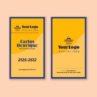 Modelo vertical de cartão de visita de comida mexicana