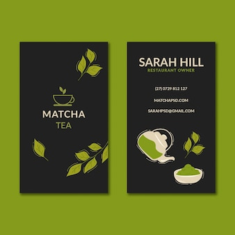 Modelo vertical de cartão de visita dupla face matcha chá