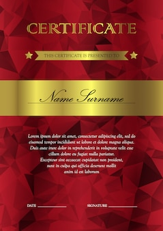 Modelo vertical de certificado e diploma vermelho e dourado