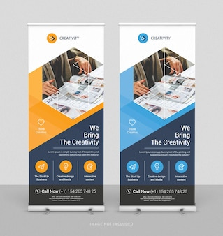 Modelo vertical de design de banner de negócios enrolado