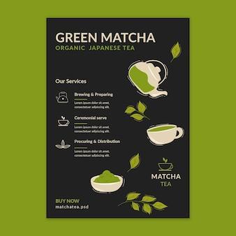 Modelo vertical de panfleto de chá matcha