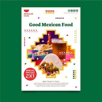 Modelo vertical de panfleto de comida mexicana
