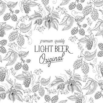 Modelo vintage abstrato de cerveja light com plantas de lúpulo à mão desenhada