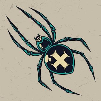 Modelo vintage colorido assustador cruz aranha