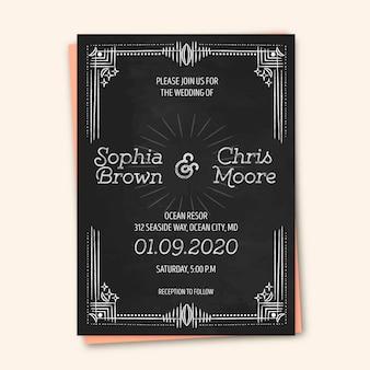 Modelo vintage de convite de casamento