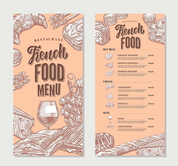 Modelo vintage de menu de restaurante de comida francesa