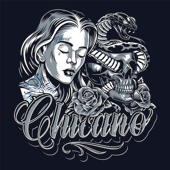 Modelo vintage de tatuagem chicano