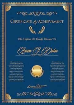 Modelo vintage retrô certificado ou diploma