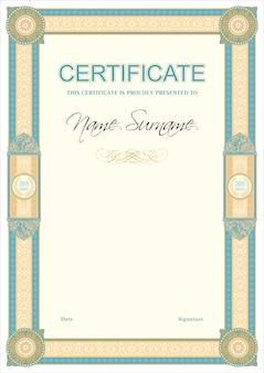 Modelo vintage retrô de certificado ou diplom