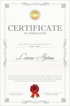 Modelo vintage retrô de certificado ou diploma