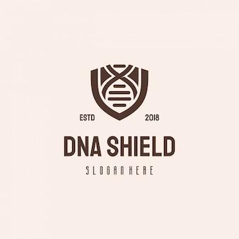 Modelo vintage retrô de dna shield logotipo hipster, logotipo genético