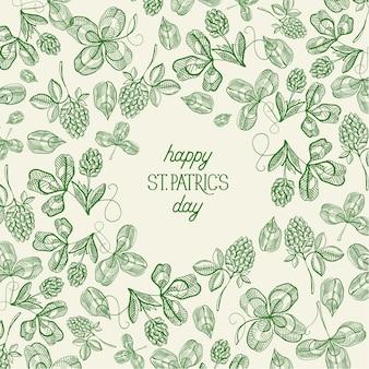 Modelo vintage verde do dia de são patrício com esboço de inscrição trevo irlandês e ilustração vetorial de trevo de quatro folhas