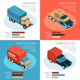 Modelos 2x2 isométricos coloridos com diferentes veículos de entrega, sua capacidade, velocidade e peso 3d