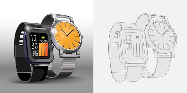 Modelos 3d realistas de relógios de aço digitais e mecânicos. modelo de design de cartaz de relógios inteligentes e clássicos. página para colorir e relógios coloridos.