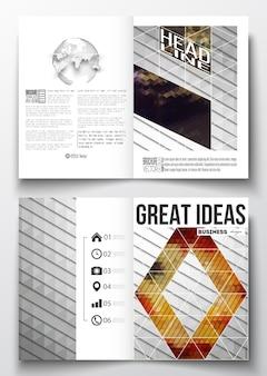 Modelos a4 para brochura com fundos poligonais