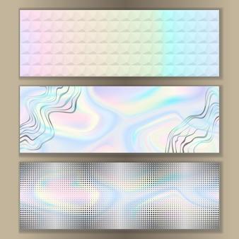 Modelos abstratos de banner holográfico da web definem padrões techno para cartazes com texto local