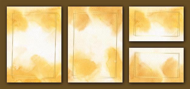 Modelos abstratos de cartão de casamento em aquarela amarela