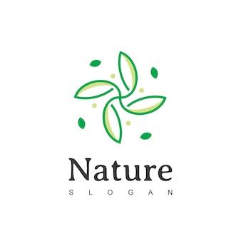 Modelos abstratos de design de logotipo verde para produtos e embalagens de alimentos naturais e orgânicos