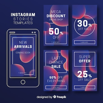Modelos coloridos de histórias do instagram