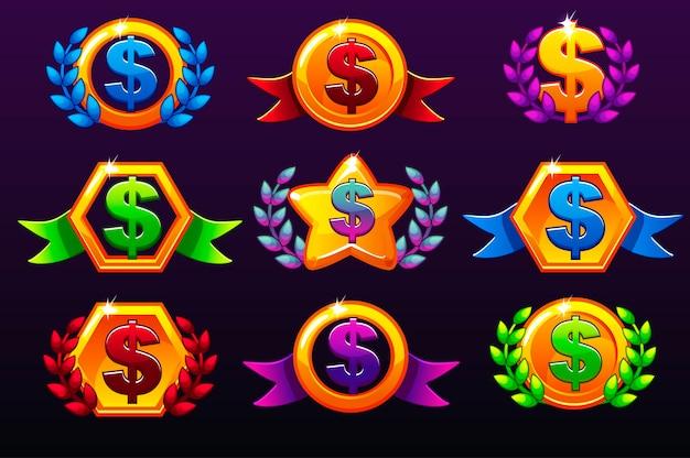 Modelos coloridos de ícones de dólar para prêmios