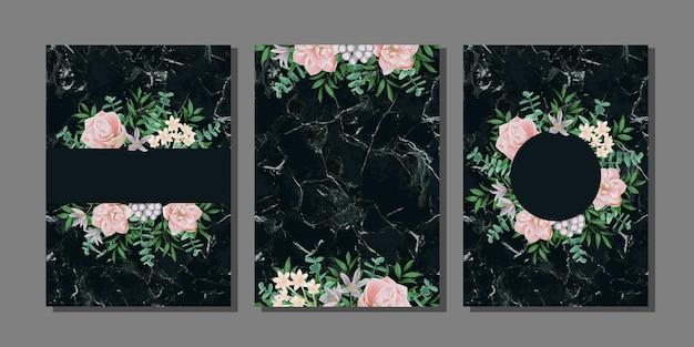 Modelos com flores e mármore preto para cartões comemorativos e capas