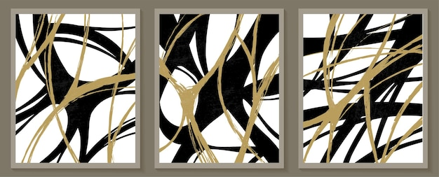 Modelos contemporâneos com formas abstratas estilo boho moderno de meados do século.