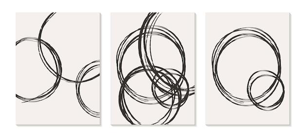 Modelos contemporâneos com formas abstratas orgânicas e linhas em cores retrô fundo boho pastel em estilo minimalista de meados do século.