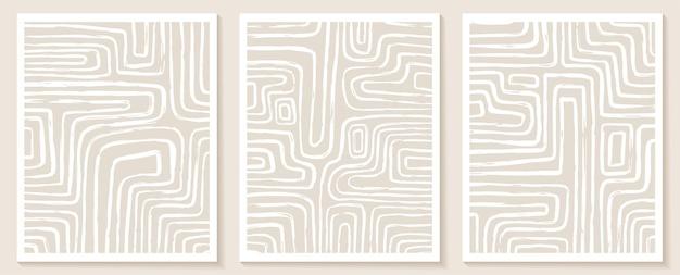 Modelos contemporâneos estéticos com formas abstratas orgânicas e linhas em cores nude. fundo de boho pastel em vetor de estilo minimalista de meados do século.