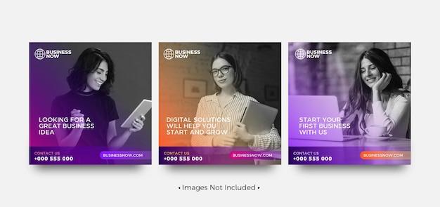 Modelos criativos de postagem de instagram para negócios