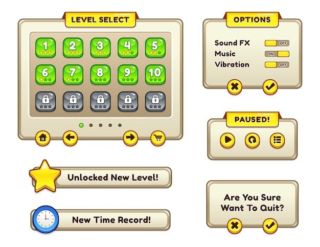 Modelos da interface do usuário do jogo Vetor Premium