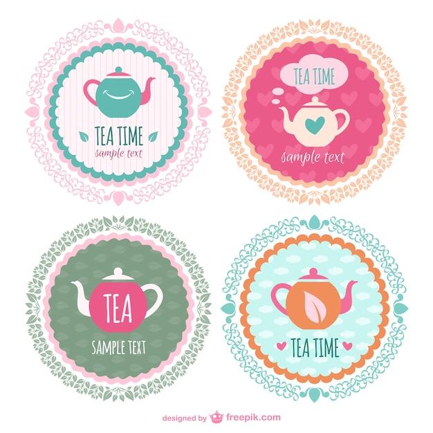 Modelos de adesivos hora do chá