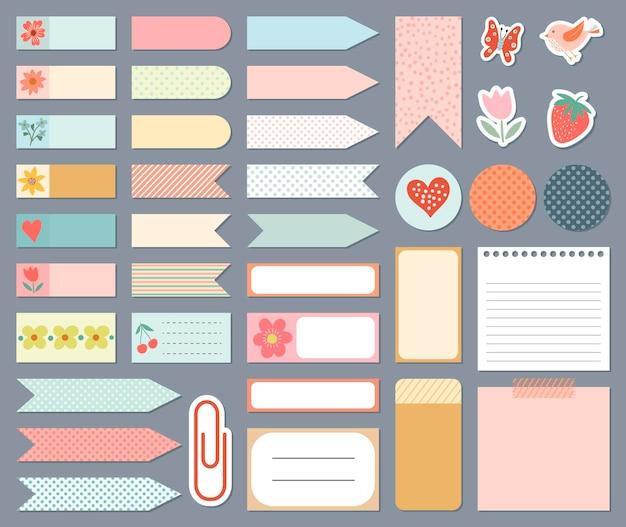 Modelos de adesivos para planejadores diários de coleção de papelaria