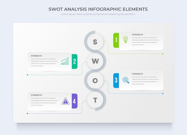 Modelos de análise de swot e infográficos estratégicos de negócios