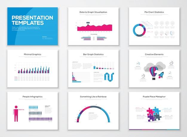 Modelos de apresentação de informações e brochuras de vetores de negócios