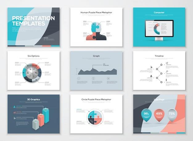 Modelos de apresentação de negócios e elementos vetoriais infográficos