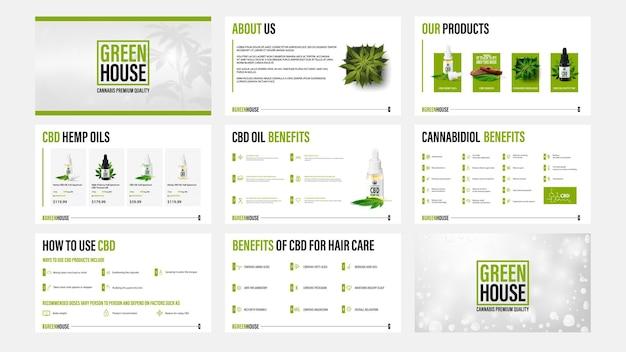Modelos de apresentação de produtos de óleo cbd com elementos de infográfico.